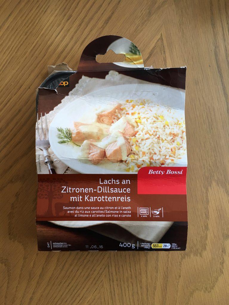 Lachs an Zitronen-Dillsauce mit Karottenreis - verpackt