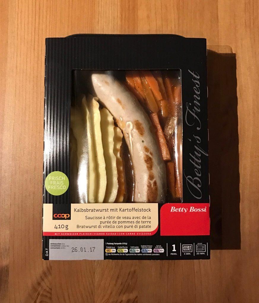 Kalbsbratwurst mit Kartoffelstock verpackt